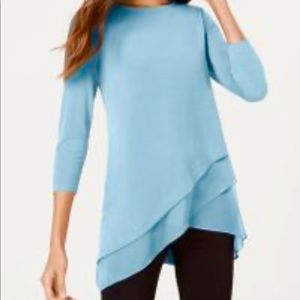 NWT Alfani Asymmetrical Crossover Hem Tunic Top